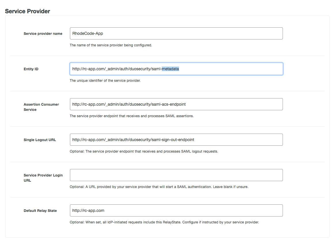 SAML 2 0 with Duo Security — RhodeCode Enterprise 4 17 3